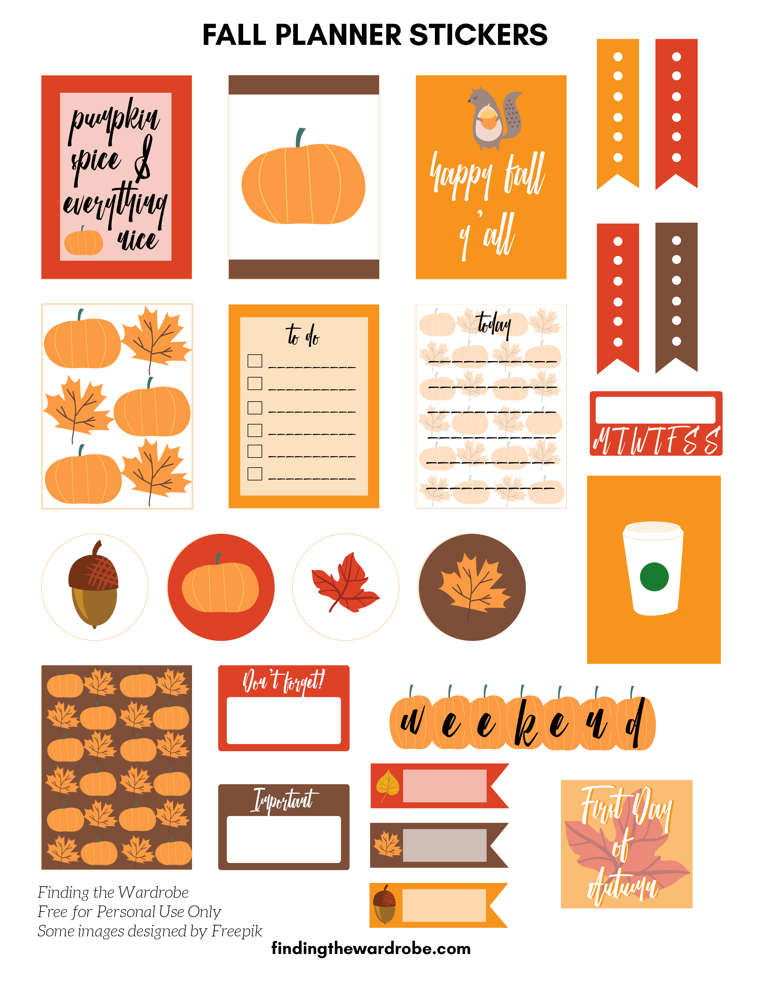 Free Printable - Fall Planner Stickers - Finding the Wardrobe